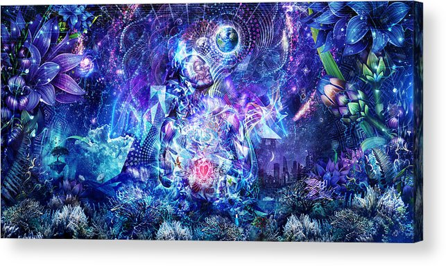 Blue Acrylic Print featuring the digital art Transcension by Cameron Gray