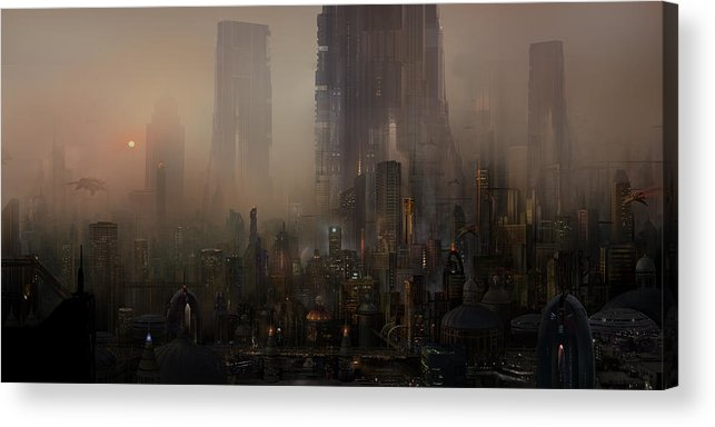 Future City Acrylic Print featuring the painting Utherworlds Cohabitations by Philip Straub