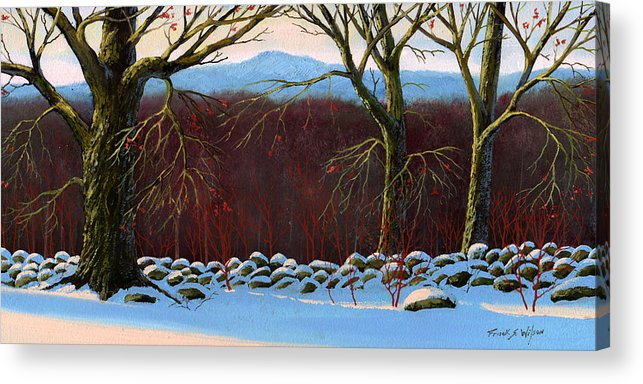 Landscape Acrylic Print featuring the painting Vermont Stone Wall by Frank Wilson