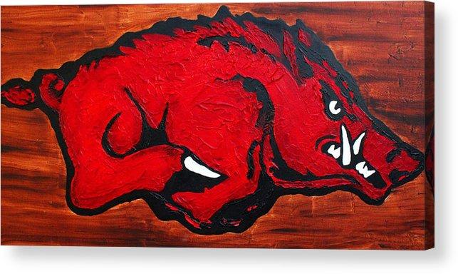 Arkansas Razorbacks Acrylic Print featuring the painting Woo Pig Sooie by Laura Grisham