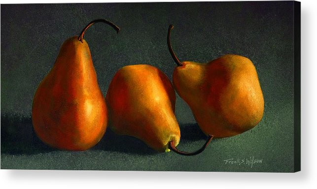 Still Life Acrylic Print featuring the painting Yellow Pears by Frank Wilson