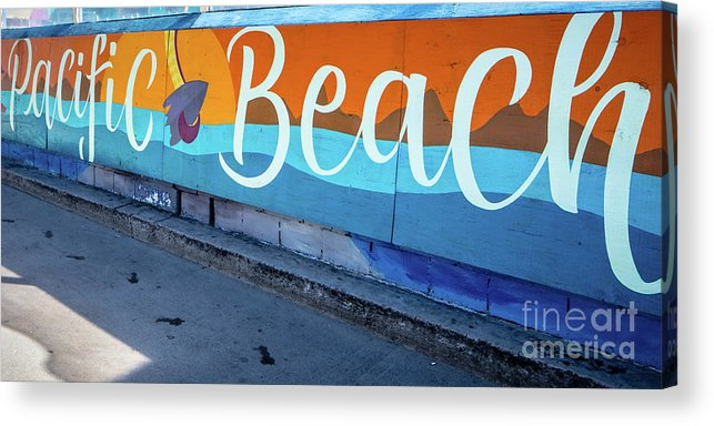 Pacific Beach Acrylic Print featuring the photograph Pacific Beach Sign San Diego California by Edward Fielding