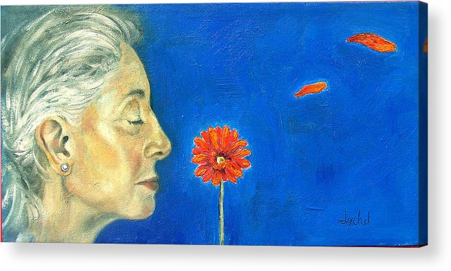 Flower Acrylic Print featuring the painting Orange Gerbera On Cobalt by Ixchel Amor