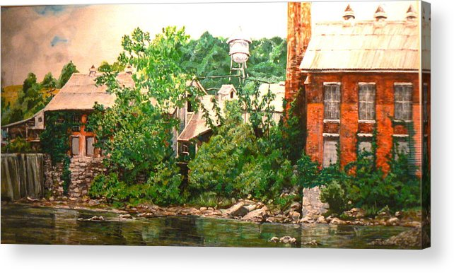 Landscape Acrylic Print featuring the painting Paper Mill by Thomas Akers