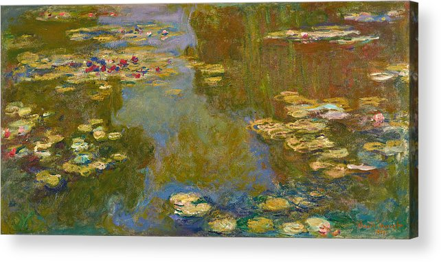 Claude Monet Acrylic Print featuring the painting The Water Lily Pond by Claude Monet