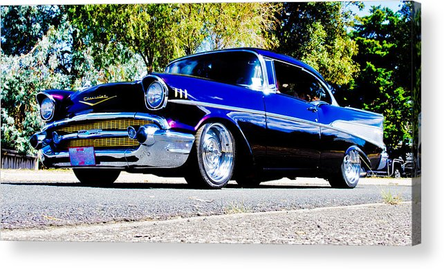 Custom Chevrolet Acrylic Print featuring the photograph 1957 Chevrolet Bel Air by Phil 'motography' Clark