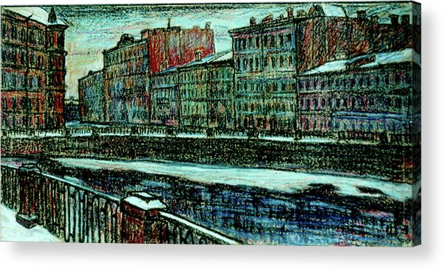 St. Petersburg Acrylic Print featuring the drawing Griboyedov Canal by Anatoliy Sivkov