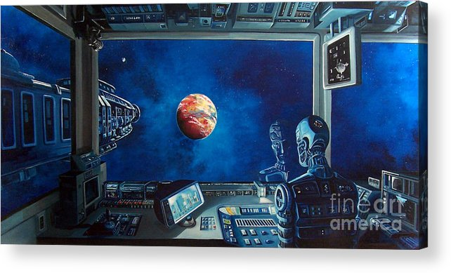 Fantasy Acrylic Print featuring the painting Crying Robot by Murphy Elliott