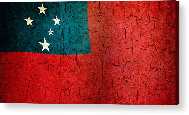 Aged Acrylic Print featuring the digital art Grunge Samoa Flag by Steve Ball