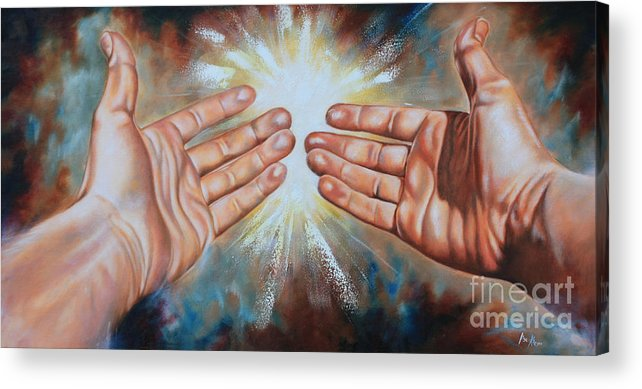 Hands Acrylic Print featuring the painting Light Of This World by Ilse Kleyn