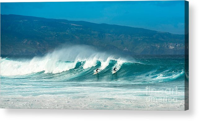 Hookipa Beach Acrylic Print featuring the photograph Surfing Duel by Jamie Pham