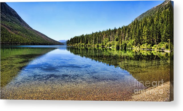 Kintla Lake Acrylic Print featuring the photograph The Best Beach In Glacier National Park Panorama 2 by Scotts Scapes