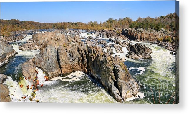 Great Falls Park Acrylic Print featuring the photograph The Great Falls Of The Potomac Panorama by Jack Schultz