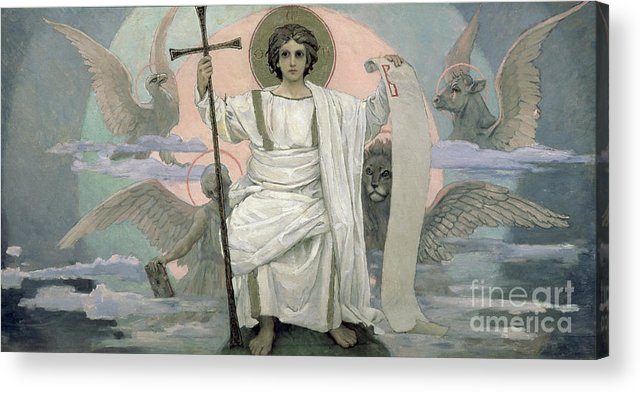 Seated Acrylic Print featuring the painting The Son Of God  The Word Of God by Victor Mikhailovich Vasnetsov