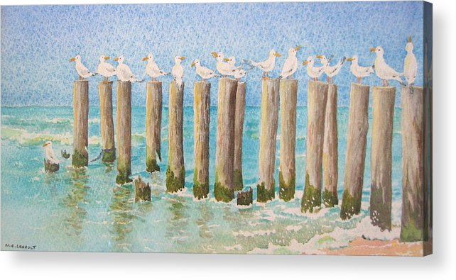 Seagulls Acrylic Print featuring the painting The Town Meeting by Mary Ellen Mueller Legault