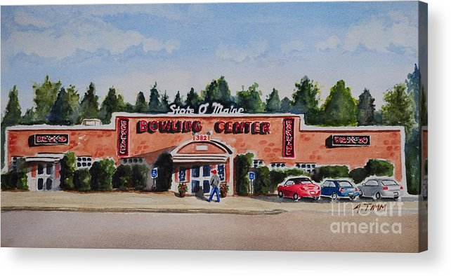 Acrylic Print featuring the painting Bowling Center by Andrea Timm