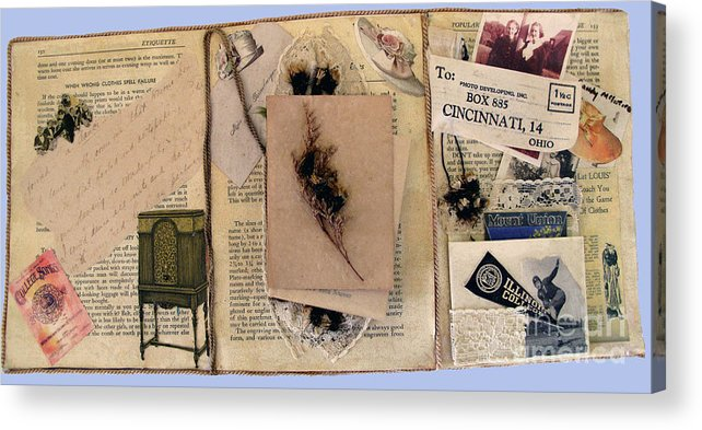 Collage Acrylic Print featuring the mixed media Fraternity Dance - Side 1 by Sandy McIntire
