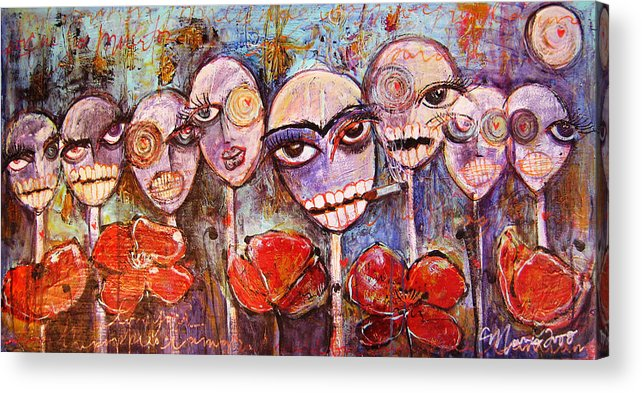 Dia De Los Muertos Acrylic Print featuring the painting 5 Poppies For The Dead by Laurie Maves ART