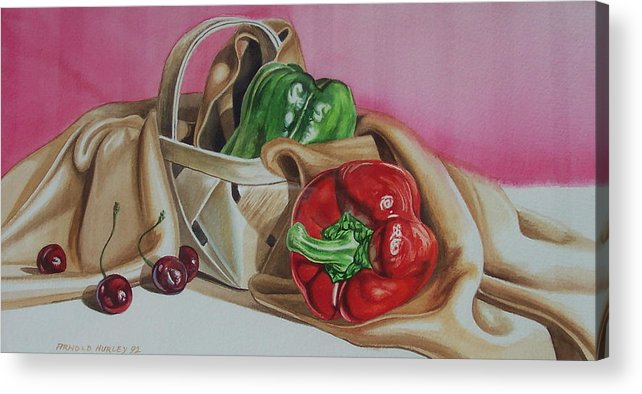 Still Life Acrylic Print featuring the painting Bell And Basket by Arnold Hurley