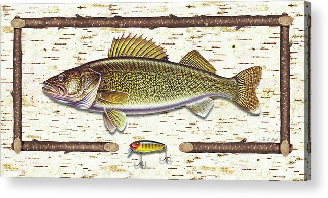 Walleye Acrylic Print featuring the painting Birch Walleye by JQ Licensing
