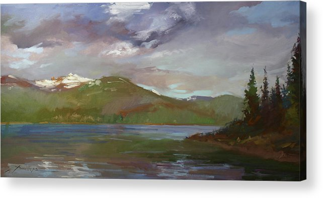 Murals Acrylic Print featuring the painting Chimney Rock At Priest Lake Plein Air by Betty Jean Billups