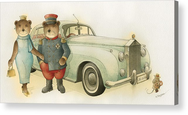 Bears Love Queen Limousine Rolls-royce Flirt Fashion Acrylic Print featuring the painting Florentius The Gardener08 by Kestutis Kasparavicius