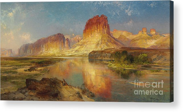 American Painting; American; Landscape; Castle Rock; Formation; Cliffs; Rocks; Reflection; Peaceful; Tranquil; Calm; Green River Of Wyoming Acrylic Print featuring the painting Green River Of Wyoming by Thomas Moran