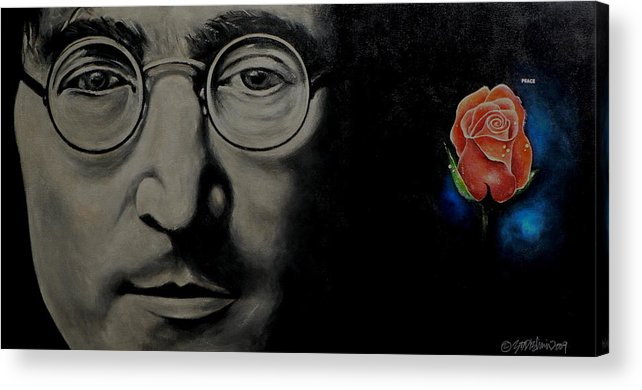 Peace Acrylic Print featuring the painting John Lennon - Peace by Eddie Lim