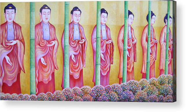 People Acrylic Print featuring the painting Many Budhas by Hiske Tas Bain