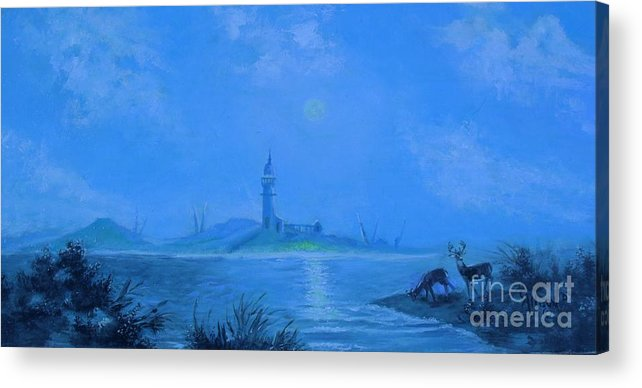 Nature Acrylic Print featuring the painting Moonlight Revere by Judith Allison