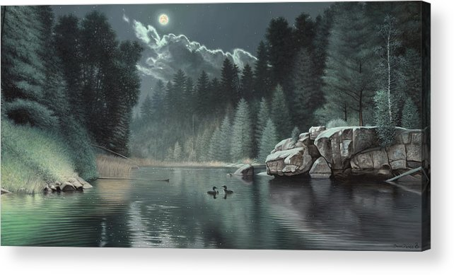 Loon Painting River Teal Green Rocks Boulder Pine Trees Forest Moon Cloud Wildlife Duck Loons Acrylic Print featuring the painting Moonlit Waters-loons by Daniel Pierce