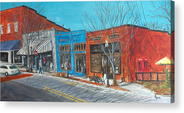 Townscape Acrylic Print featuring the painting Paintin The Town by Pete Maier