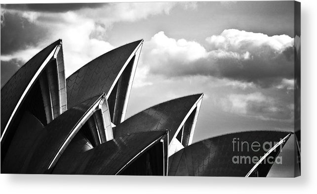 Sydney Opera House Monochrome Black And White Icon Acrylic Print featuring the photograph Sails Of Sydney Opera House by Sheila Smart Fine Art Photography