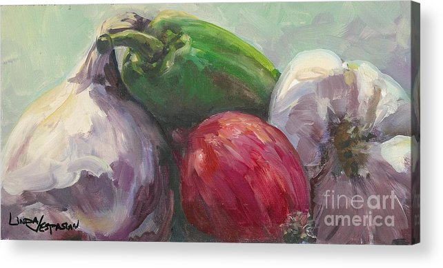 Vegetable Acrylic Print featuring the painting Salsa by Linda Vespasian