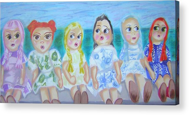 Dolls Acrylic Print featuring the painting Shut Up And Look Pretty by Michelley QueenofQueens