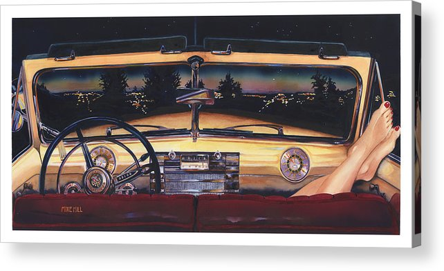 1948 Buick Roadmaster Convertable Car Automobile Feet Pedicure Night Skyline Parking Make Out Love Acrylic Print featuring the painting That Night On Walters Hill by Mike Hill