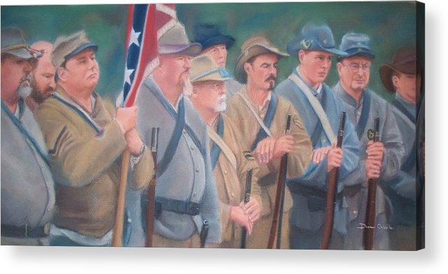 Civil War Reenactment Acrylic Print featuring the pastel The Battle Of Wilson's Store by Diane Caudle