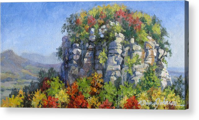 Mountains Acrylic Print featuring the painting The Pilot - Pilot Mountain by L Diane Johnson