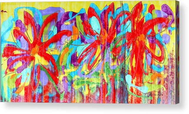 Abstract Flowers Acrylic Print featuring the painting Three Reds by Pauline Ross