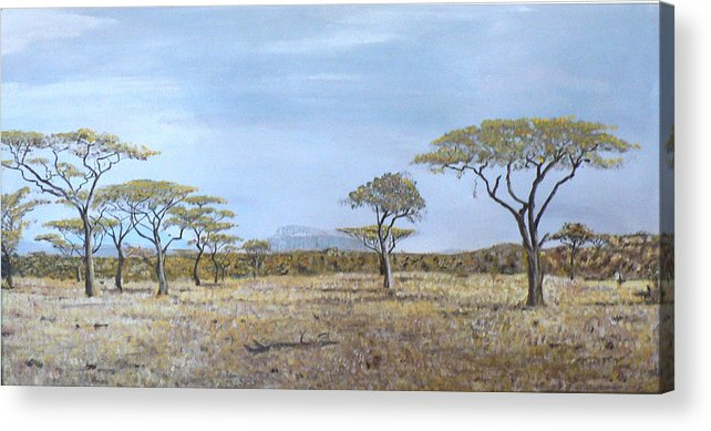 African Veldt Acrylic Print featuring the painting Veldt by Dan Bozich