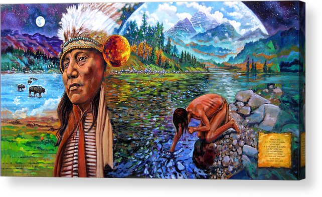 Indian Acrylic Print featuring the painting What Is Life by John Lautermilch