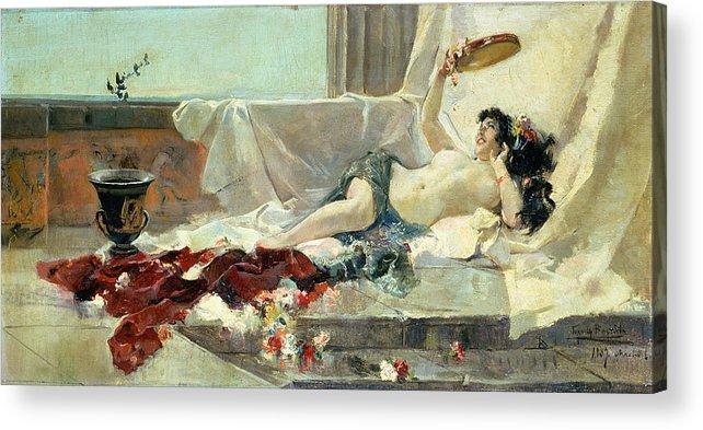 Bacchante (woman Undressed) 1887 (oil On Canvas) By Joaquin Sorolla Y Bastida (1863-1923) Acrylic Print featuring the painting Woman Undressed by Joaquin Sorolla y Bastida
