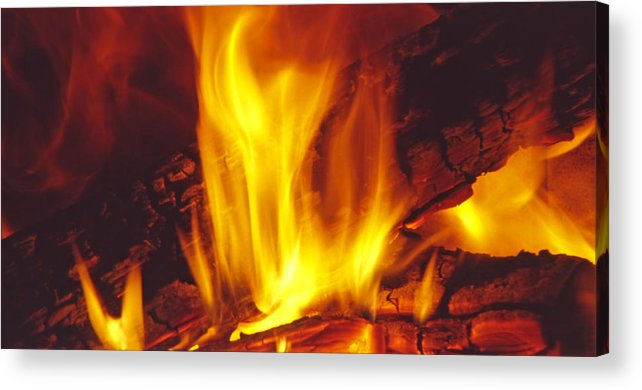 Fire Acrylic Print featuring the photograph Wood Stove - Blazing Log Fire by Steve Ohlsen