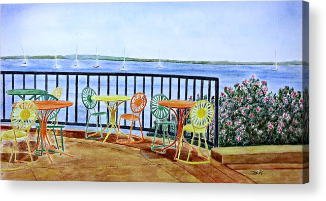 Watercolor Acrylic Print featuring the painting The Terrace View by Thomas Kuchenbecker