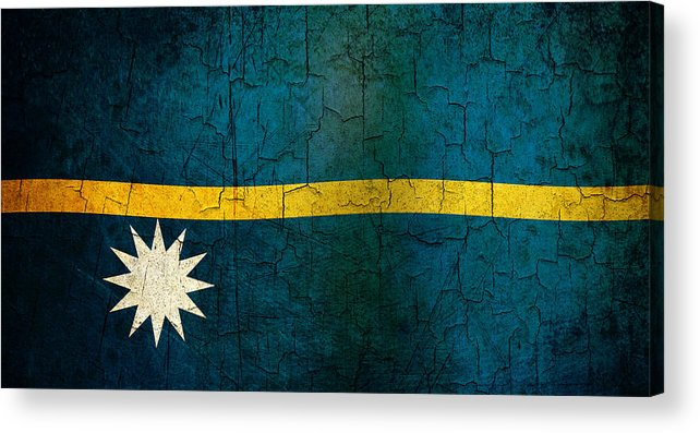Aged Acrylic Print featuring the digital art Grunge Nauru Flag by Steve Ball