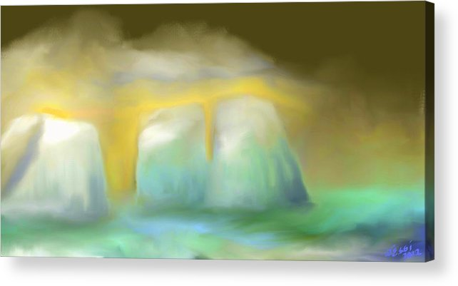 Digital Painting Acrylic Print featuring the painting Icebergs by Jessica Wright