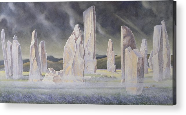 Landscape; Standing Stone; Circle; Neolithic Monument; Ancient; Outer Hebrides; Mist; Night; Moonlight; Ghostly; Celtic Acrylic Print featuring the painting The Callanish Legend Isle Of Lewis by Evangeline Dickson