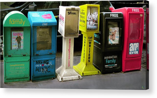 Containers Acrylic Print featuring the photograph Togetherness On A City Street by Muriel Levison Goodwin