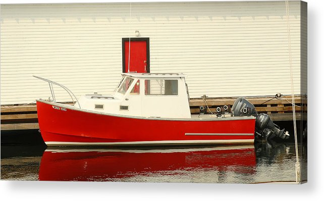 Boat Acrylic Print featuring the photograph Red Boat Red Door by Winston Wetteland