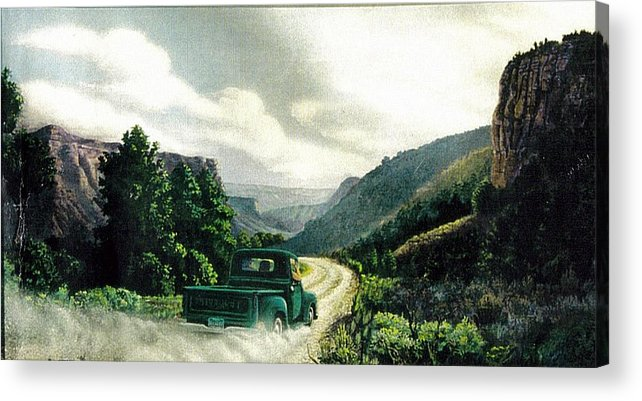 Landscape Acrylic Print featuring the print '50 Chevy Pickup In Unaweep Canyon by Lee Bowerman